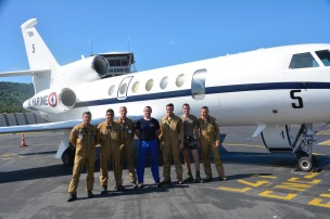 The crew of the Marine Nationale Falcon 50 in Mayotte