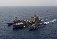 HMAS Newcastle (06) and Pakistani Naval Ship Alamgir conduct a replenishment at sea with United States Naval Ship Kanawha in the Middle East region. *** Local Caption *** Operation Manitou is the ADF contribution to support international efforts to promote maritime security, stability and prosperity in the Middle East Region (MER). The primary goal of Operation Manitou is to contribute to the US-led Combined Maritime Forces, which is a 31-nation partnership focused on defeating terrorism, preventing piracy, encouraging regional cooperation and promoting a safe maritime environment.