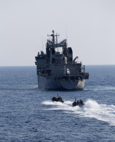 HMAS Newcastle's boarding party approach Royal Saudi Naval Forces vessel HMS Boraida during boarding party training exercises in the Middle East Region.