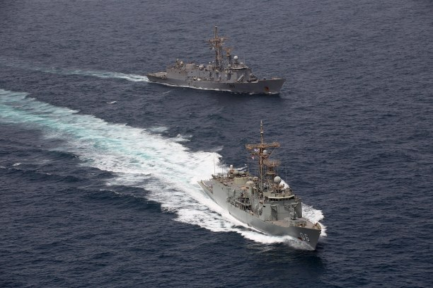 HMAS Newcastle and Pakistan Navy Ship Alamgir conduct officer of the watch maneouvers in the Middle East region. *** Local Caption *** Operation Manitou is the ADF contribution to support international efforts to promote maritime security, stability and prosperity in the Middle East Region (MER). The primary goal of Operation Manitou is to contribute to the US-led Combined Maritime Forces, which is a 31-nation partnership focused on defeating terrorism, preventing piracy, encouraging regional cooperation and promoting a safe maritime environment.