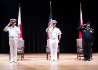 180301-N-XP344-014 MANAMA, Bahrain (March 1, 2018) From left, Rear Adm. Daisuke Kajimoto of the Japan Maritime Self Defence Force, Vice Adm. John C. Aquillino, commander, U.S. Naval Forces Central Command, U.S. 5th Fleet and Combined Maritime Forces, and Capt. Yusuf Almannaei, Royal Bahrain Navy and commander, Combined Task Force (CTF) 151, salute during the Kingdom of BahrainÕs national anthem in the multipurpose room aboard Naval Support Activity Bahrain during Combined Maritime ForcesÕ CTF 151Õs change of command ceremony. CTF 151Õs area of operation includes some of the worldÕs busiest shipping lanes and spans over two million square miles, covering the Red Sea, Gulf of Aden, Indian Ocean and Gulf of Oman. (U.S. Navy photo by Mass Communication Specialist 2nd Class Victoria Kinney/Released)