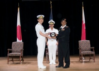 180301-N-XP344-041 MANAMA, Bahrain (March 1, 2018) Rear Adm. Daisuke Kajimoto of Japan Maritime Self Defence Force, left, poses for a photo in front of Vice Adm. John C. Aquillino, commander, U.S. Naval Forces Central Command, U.S. 5th Fleet and Combined Maritime Forces, center, with Capt. Yusuf Almannaei, Royal Bahrain Navy and commander, Combined Task Force (CTF) 151, in the multipurpose room aboard Naval Support Activity Bahrain during Combined Maritime ForcesÕ CTF 151Õs change of command ceremony. CTF 151Õs area of operation includes some of the worldÕs busiest shipping lanes and spans over two million square miles, covering the Red Sea, Gulf of Aden, Indian Ocean and Gulf of Oman. (U.S. Navy photo by Mass Communication Specialist 2nd Class Victoria Kinney/Released)